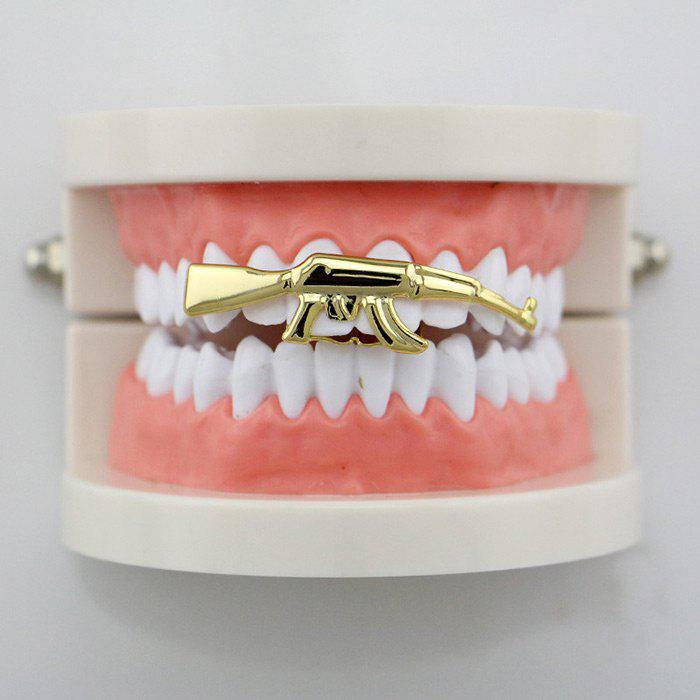 Hip Hop Gun Shape Top Teeth Grillz - GOLDEN