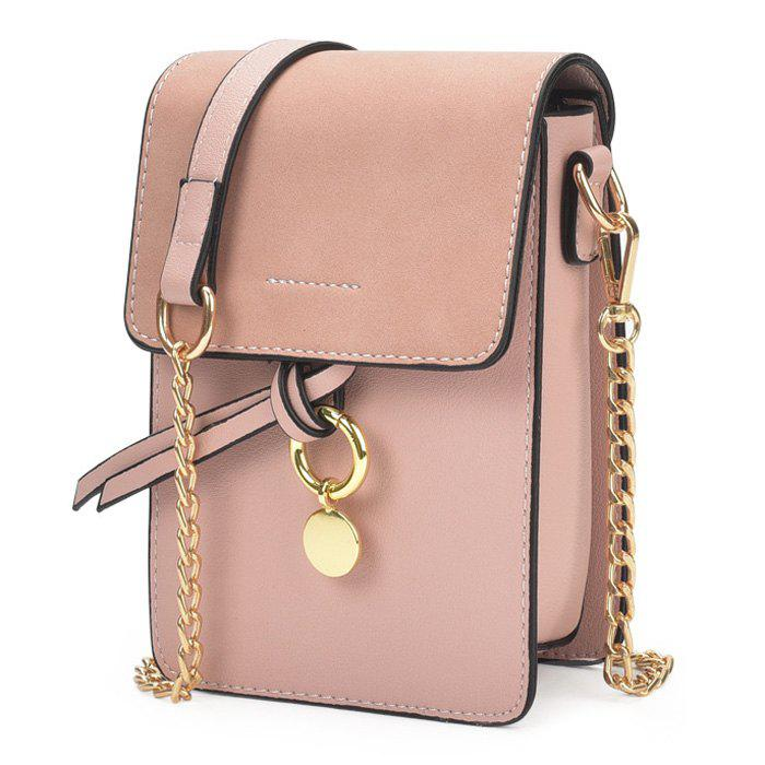 Metal Detail Chain Crossbody Bag - PINK