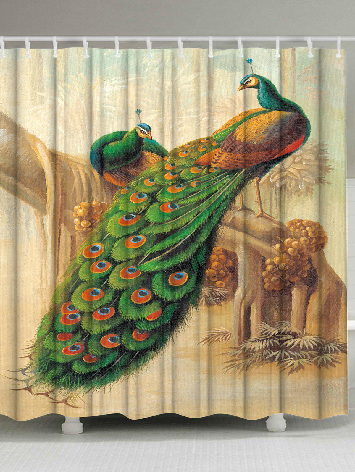 Peacock Bathroom Decoration Shower Curtain - COLORMIX W71 INCH * L79 INCH