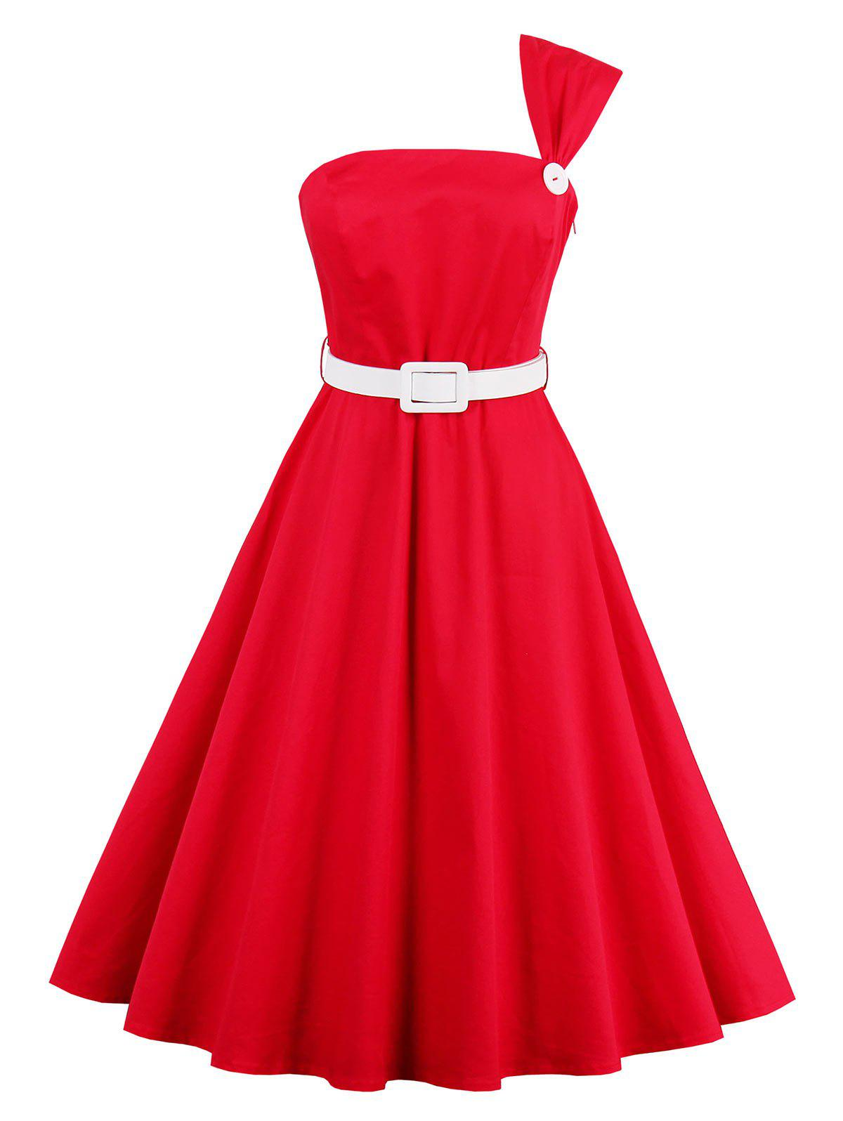 High Waist One Shoulder Vintage Dress - RED XL
