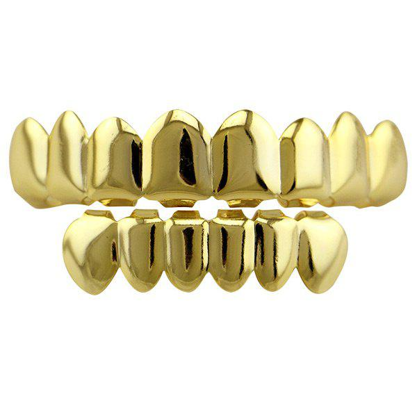 Hip Hop Top with Bottom Teeth Grillz Set - GOLDEN