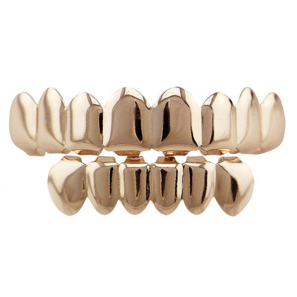 Hip Hop Top with Bottom Teeth Grillz Set - ROSE GOLD