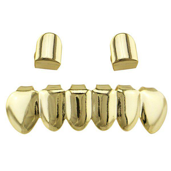 Hip Hop Top Bottom Teeth Funny Grillz Set - Or