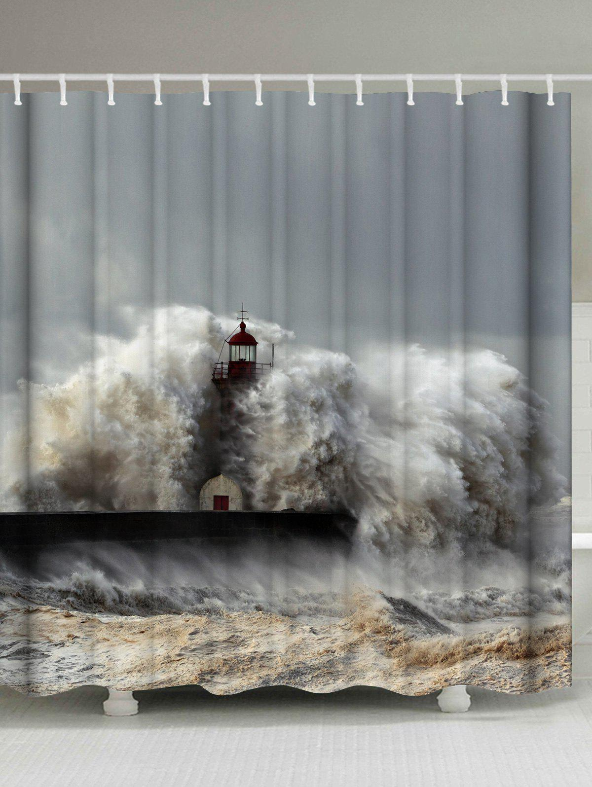 Waterproof Fabric Surge Lighthouse Shower Curtain lizard waterproof fabric shower curtain