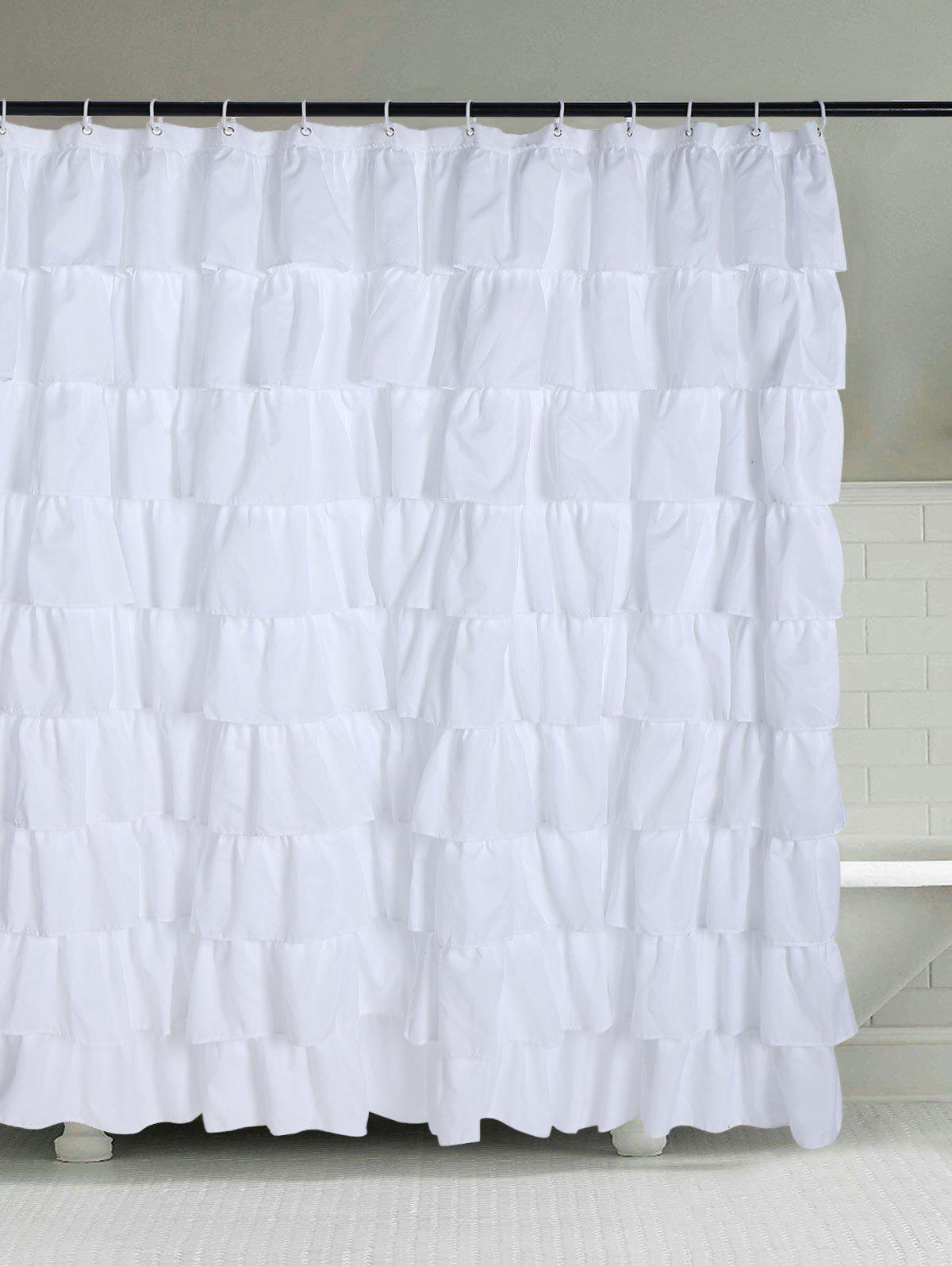 2018 Ruffle Layers Design Polyester Bath Shower Curtain WHITE W ...