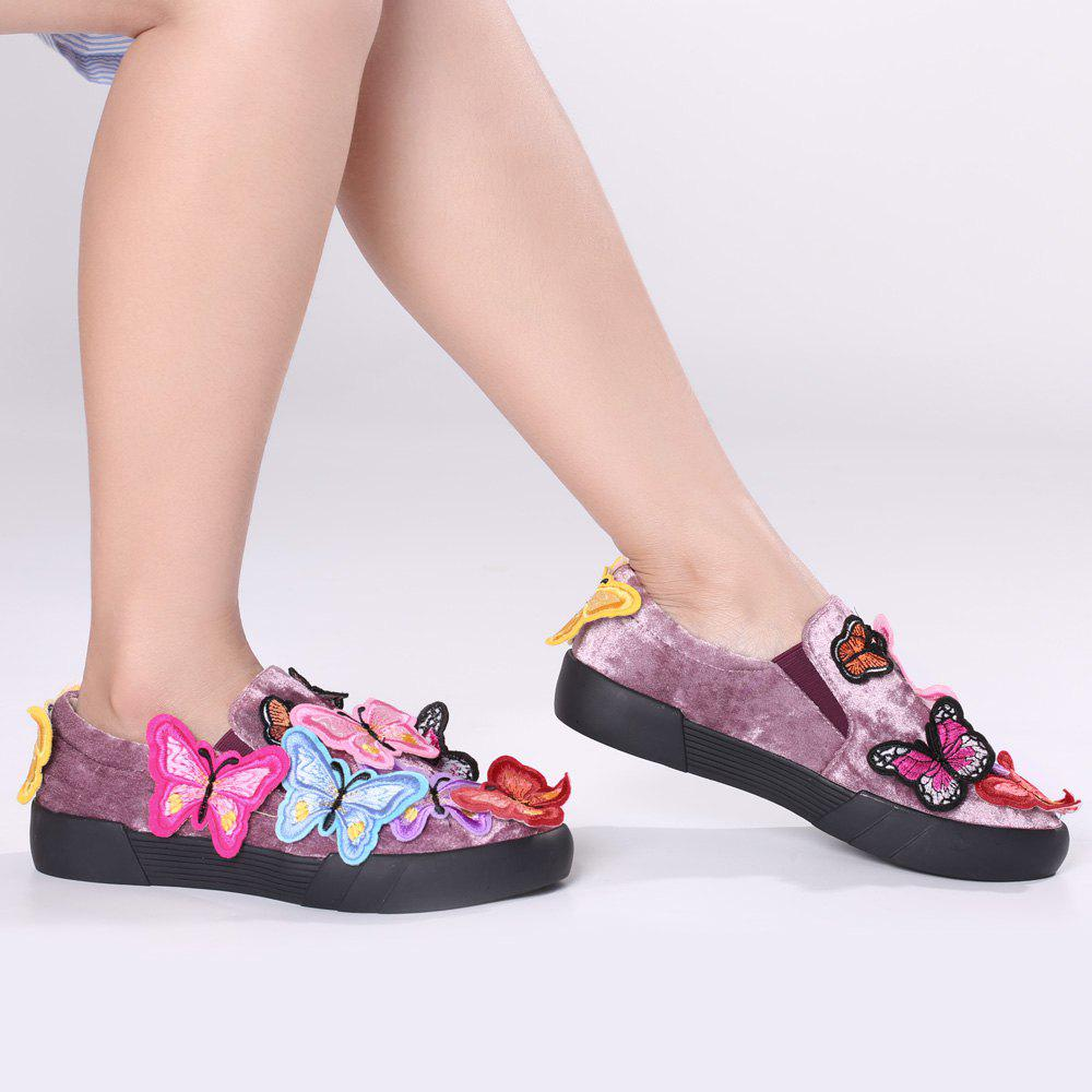 Dresslily Butterfly Embroidered Slip On Sneakers