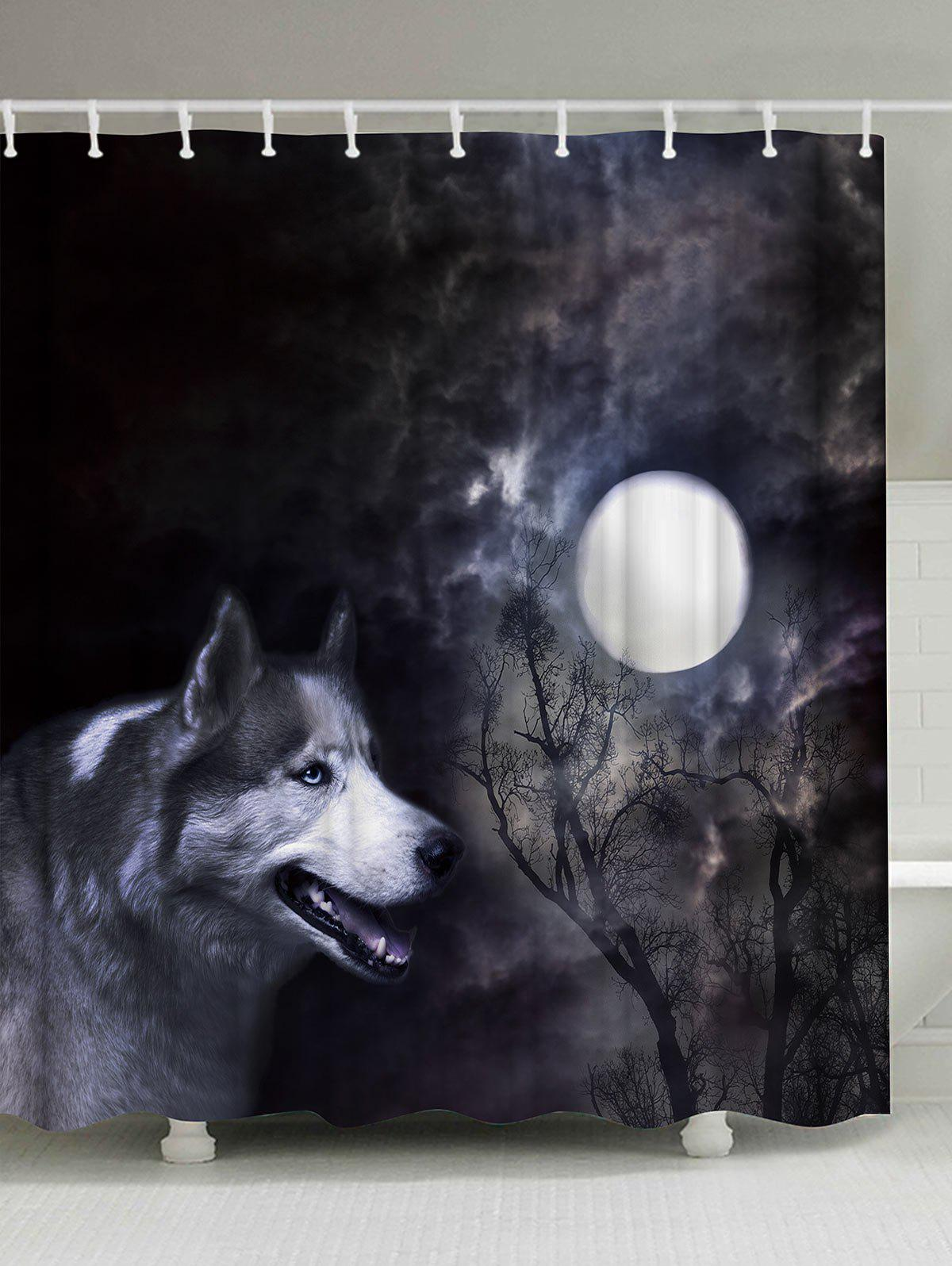 Moonlight Wolf Fabric Shower Curtain with Hooks waterproof polyester fabric shower curtain with hooks