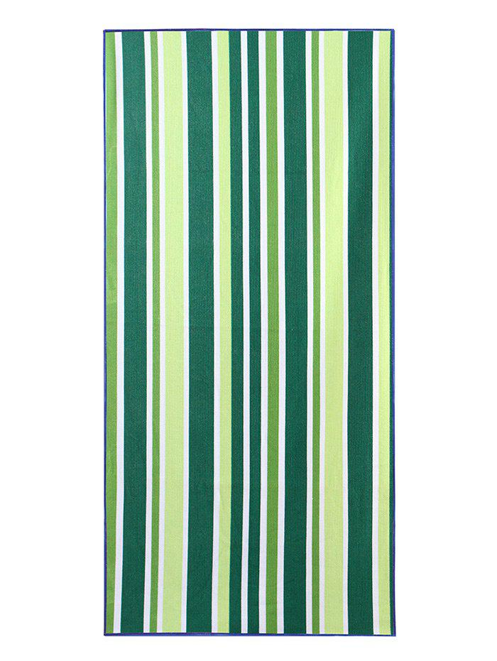 Striped Print Rectangle Soft Bath Towel - GREEN W15.5 INCH * L67 INCH