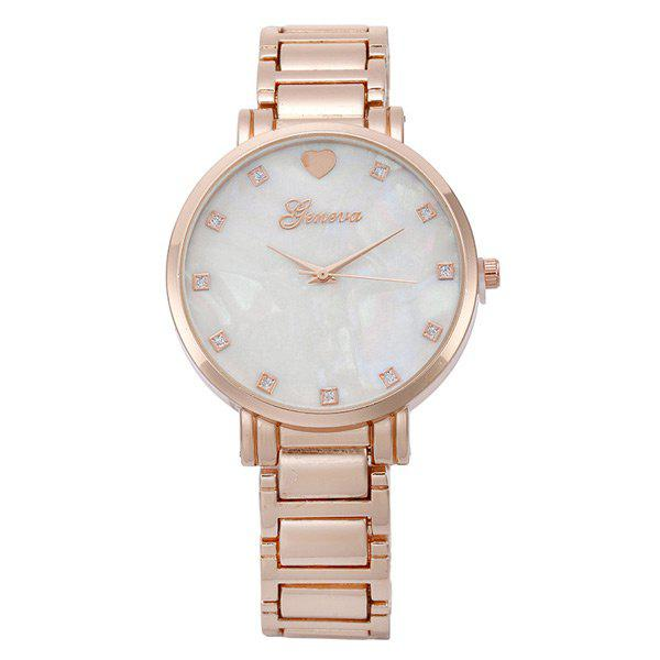 Alloy Strap Heart Rhinestone Quartz Watch - ROSE GOLD