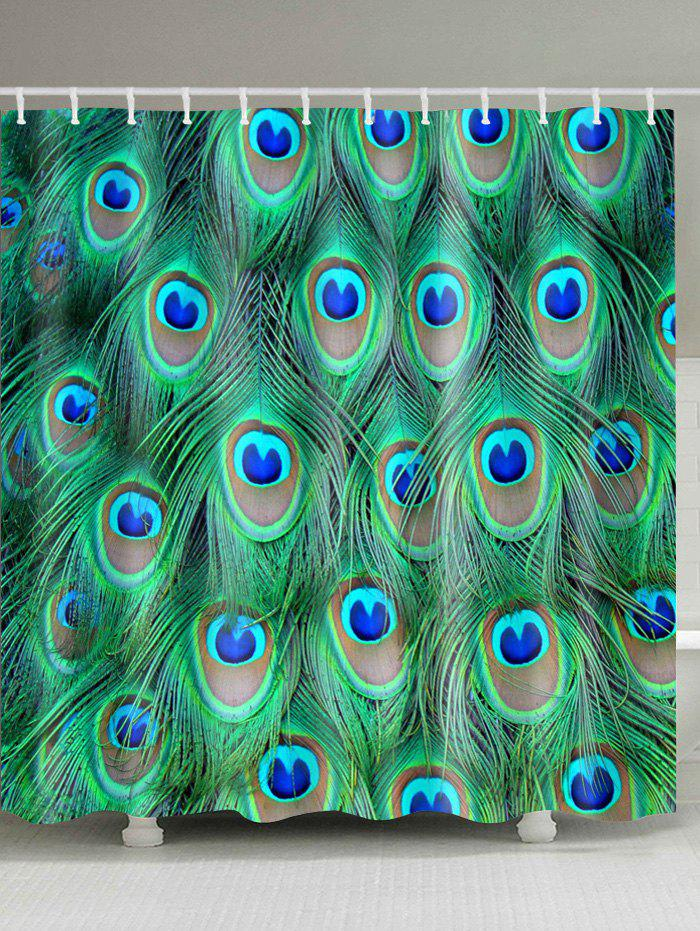Peacock Feather Water Resistant Shower Curtain - MALACHITE GREEN W71 INCH * L79 INCH