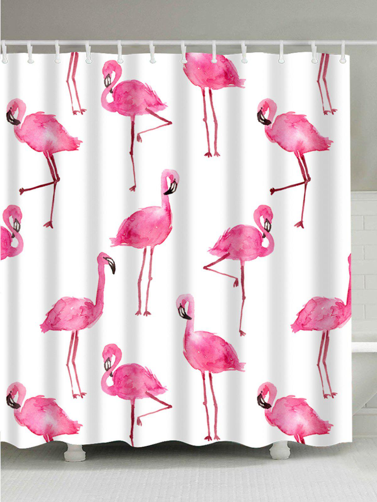 Extra Long Unique Flamingo Bathroom Curtain   WHITE W71 INCH * L79 INCH