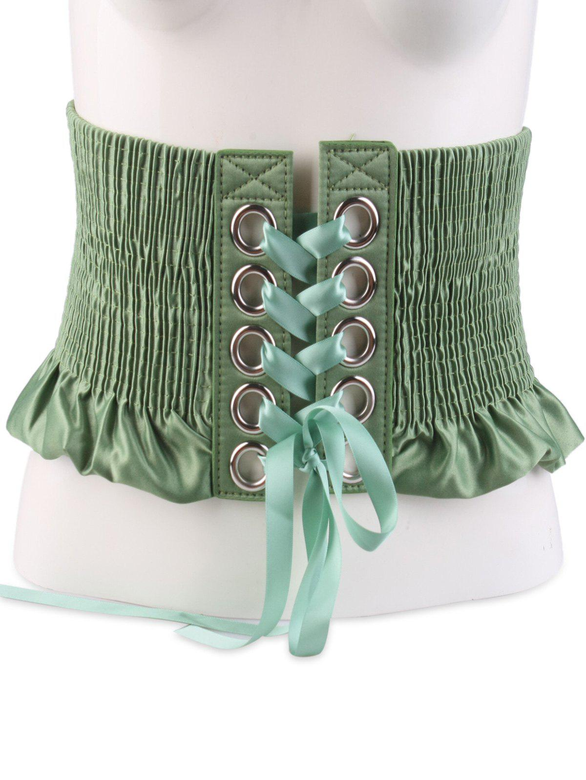 Lace Up Circles Pleating Shimmer Corset Belt - GREEN
