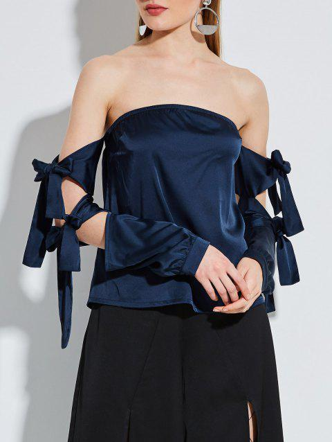 Strapless Satin Blouse with Lace Up Sleeve - DEEP BLUE M