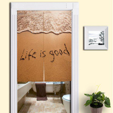 Beach Words Print Bathroom Decor Door Curtain - SAND YELLOW W33.5 INCH * L47 INCH