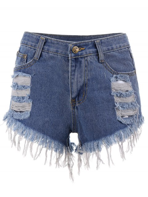Short Denim Déchiré - Bleu L