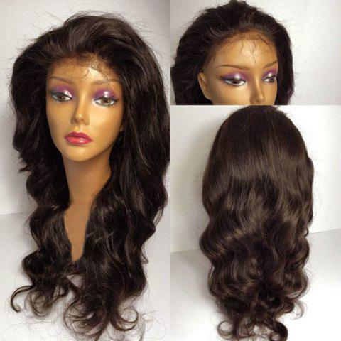 Free Part Long Fluffy Wavy Lace Front Synthetic Wig - BROWN