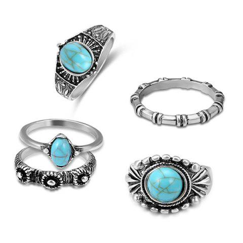 Faux Turquoise Oval Bohemian Ring Set - SILVER