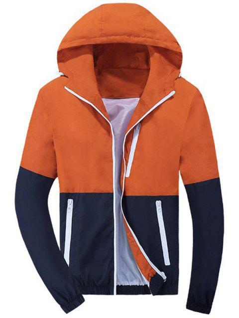 Coupe-Vent A Capuche Bloc De Coleur Fermeture - Orange L
