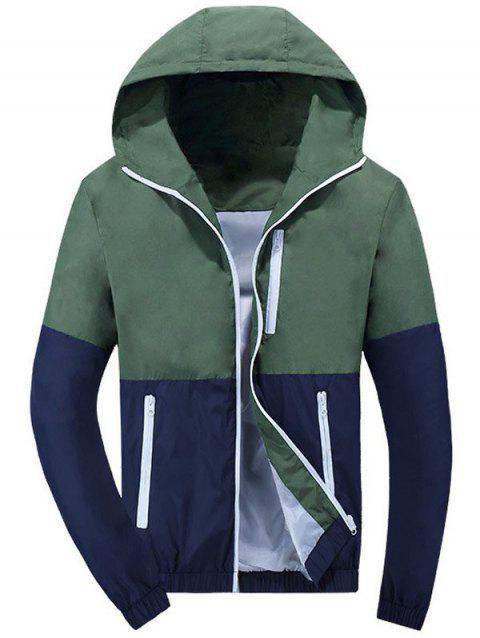 Zip Up Hooded Color Block Windbreaker - BLACKISH GREEN M