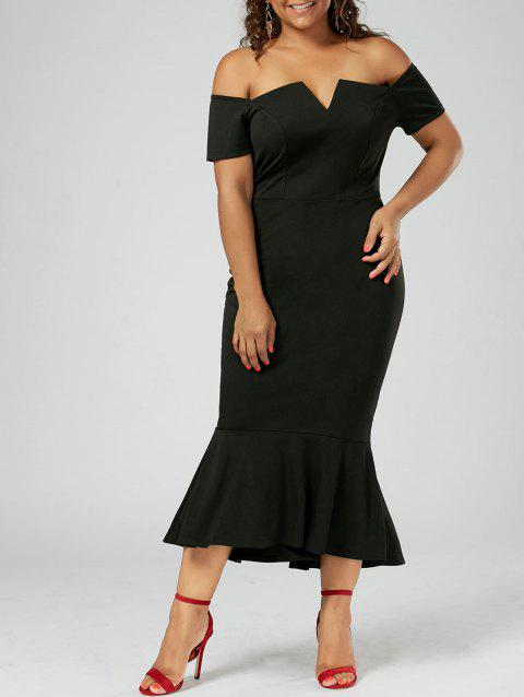 Mermaid Off The Shoulder Plus Size Dress - BLACK 3XL
