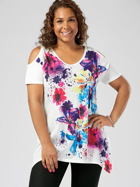 f3d680a46c2 41% OFF] 2019 Plus Size Cold Shoulder Splatter Paint T-shirt In ...