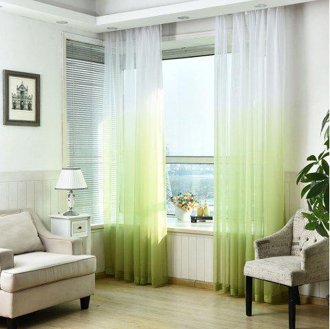 1PC Gradient Color Voile Window Curtain - GREEN W59 INCH * L98.5 INCH