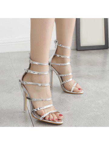 Belt Buckle Stiletto Heel Zip Sandals