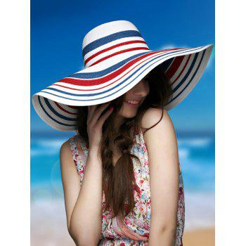 Woven Striped Wide Brim Straw Hat