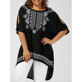 Plus Size High Low Embroidered Blouse