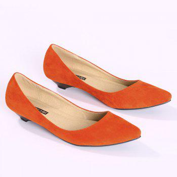 Basic Pointed Toe Low Heel Pumps - ORANGE YELLOW 38