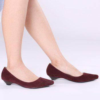 Basic Pointed Toe Low Heel Pumps - WINE RED 39