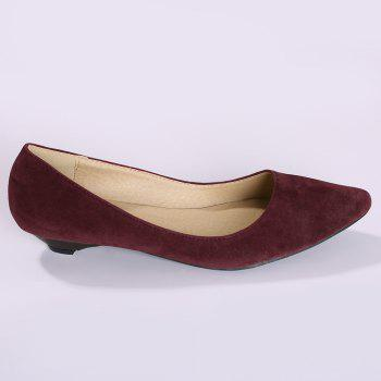 Basic Pointed Toe Low Heel Pumps - WINE RED 40