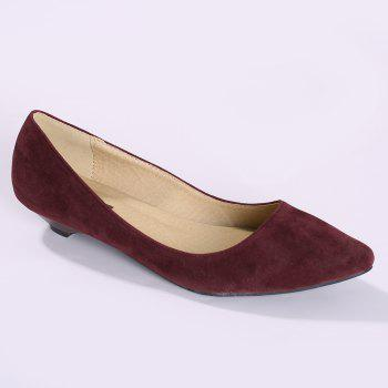 Basic Pointed Toe Low Heel Pumps - WINE RED 37