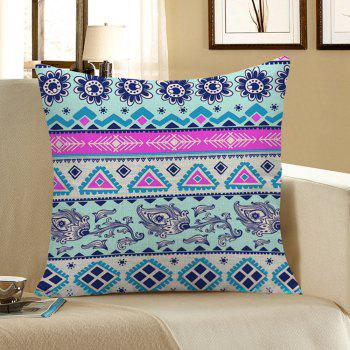 Home Decor Floral Geometric Print Pillow Case - COLORFUL COLORFUL