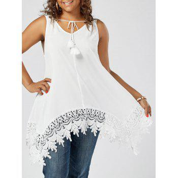 Asymmetric Plus Size Lace Insert Tank Top