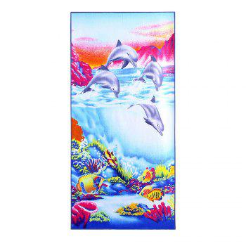 Sea Beach Print Polyester Fabric Bath Towel - BLUE W15.5 INCH * L67 INCH