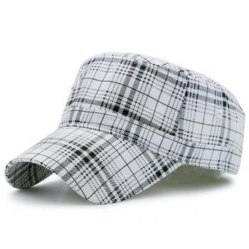 Flat Top Plaid Military Hat