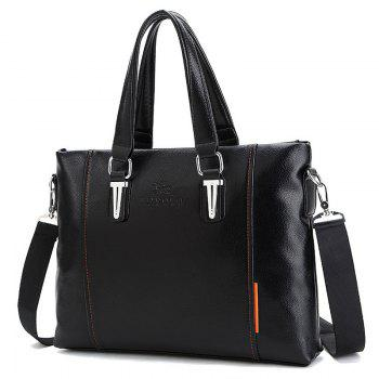 PU Leather Metal Embellished Tote Bag -  BLACK