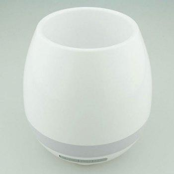 Colorful Night Light Bluetooth Speaker Music Flower Pot -  WHITE
