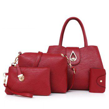 Line Embossed 4 Pieces Handbag Set - RED RED