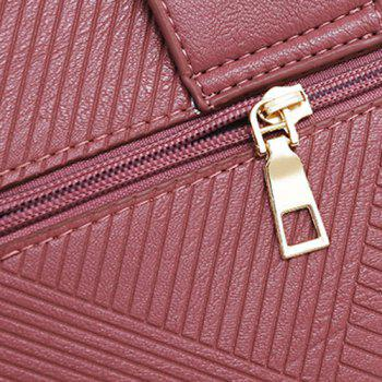 Line Embossed 4 Pieces Handbag Set -  RED