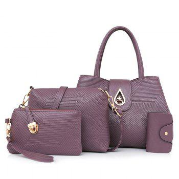 Line Embossed 4 Pieces Handbag Set - PURPLE PURPLE
