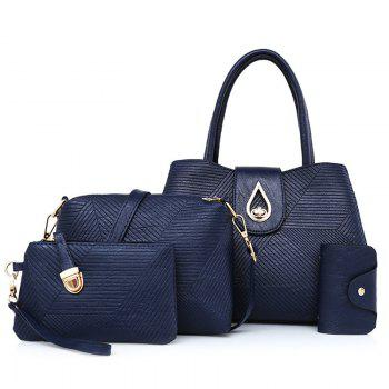 Line Embossed 4 Pieces Handbag Set - BLUE BLUE