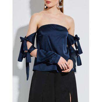 Strapless Satin Blouse with Lace Up Sleeve