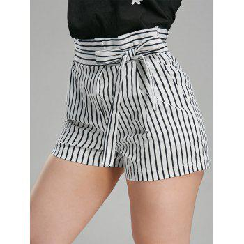 Belted High Waisted Striped Mini Shorts - STRIPE S