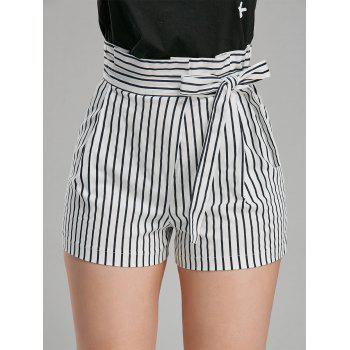 Belted High Waisted Striped Mini Shorts