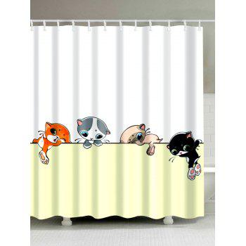 Cartoon Cat Extra Long Waterproof Shower Curtain