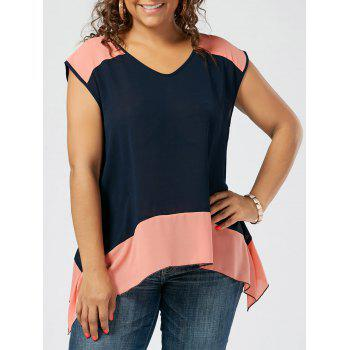 Plus Size Two Tone Sheer Tunic Top