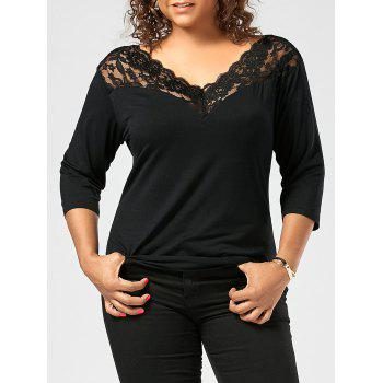 Lace Sheer Trim Plus Size T-shirt