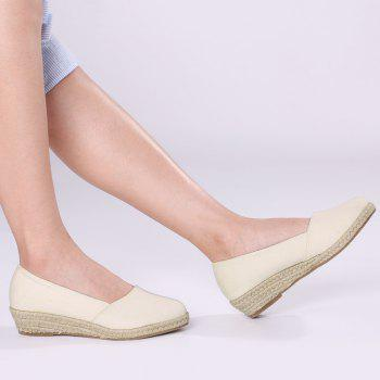 Round Toe Slip On Espadrille Wedges